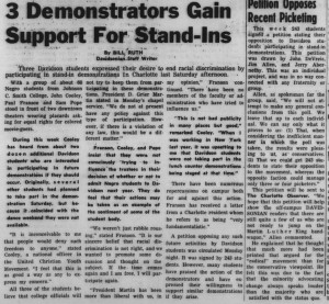"Davidsonian articles reflect campus divisions in 1961 with the headlines, ""3 Demonstrators Gain Support For Stand-Ins"" and ""Petition Opposes Recent Picketing"""