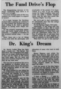 "1968 Editorials on the failed gift fund and MLK's death with the headlines, ""The Fund Drive's Flop"" and ""Dr. King's Dream"""
