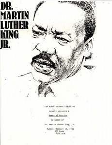 1984 Flyer for Black Student Coalition service with a sketch of Dr. Martin Luther King Jr. on it