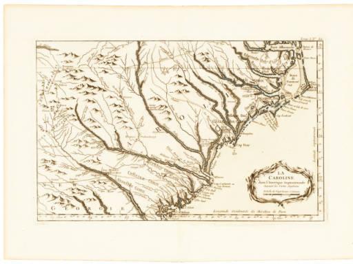 """bellinmap, Bellin's """"La Caroline dans l'Amerique Septentrionale Suivant les Cartes Angloises,"""" 1764"""