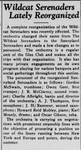 """Article from 9 February 1928 Davidsonian announcing the change from Wildcat to Sunnyland with the headline, """"Wildcat Serenaders Lately Reorganized"""""""