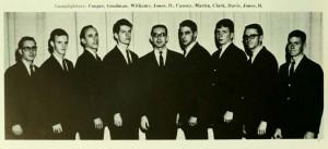 Lamplighters (Double Quartet) in 1965 featruing: Cooper, Goodman, Willams, Jones, D., Causey, Martin, Clark, Davis, Jones, B. left to right