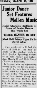 "Davidsonian article from 17 March 1937 with the headline, ""Junior Dance Set Features Mellen Music"""
