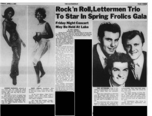 In 1965, the line up for Frolics included old favorites (The Lettermen) and some new (to Davidson) names (Warwick and Wells).