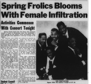 "15 April 1966 Davidsonian noting ""combo party"" held at the Lake Campus, the headline, ""Spring Frolics Blooms With Femal Infiltration"""