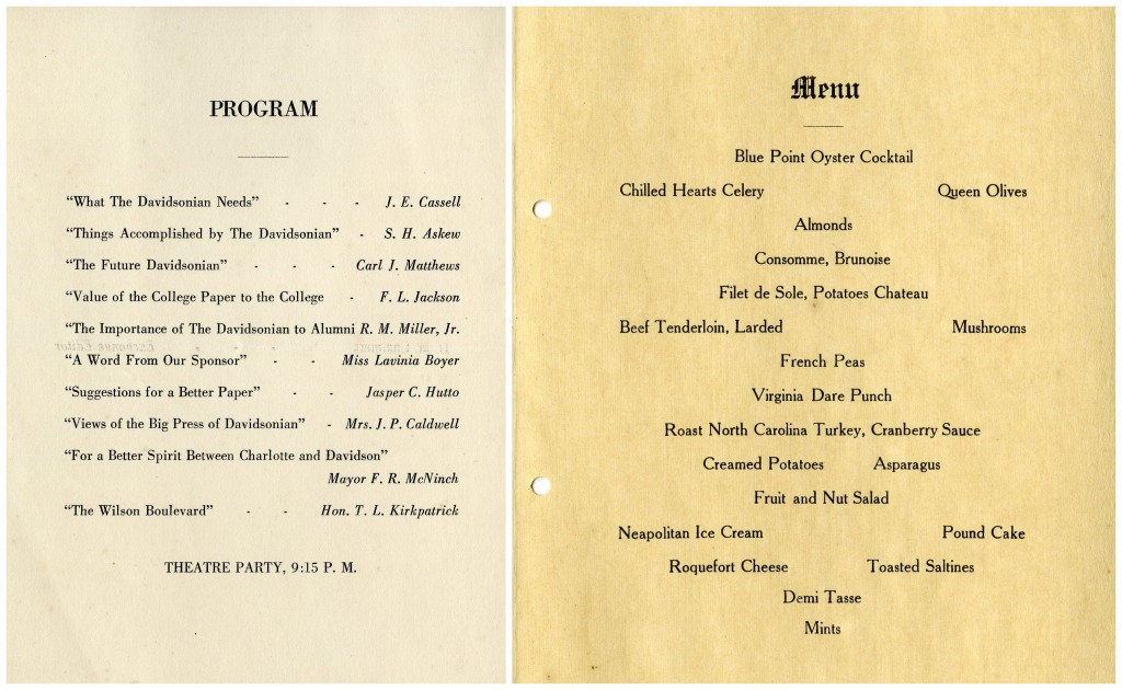 Davidson banquet itinerary 1920, a program and a menu