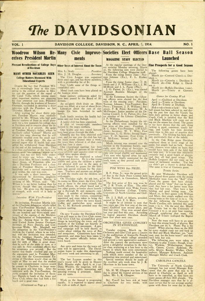 The front page of the first issue of The Davidsonian - April 1, 1914