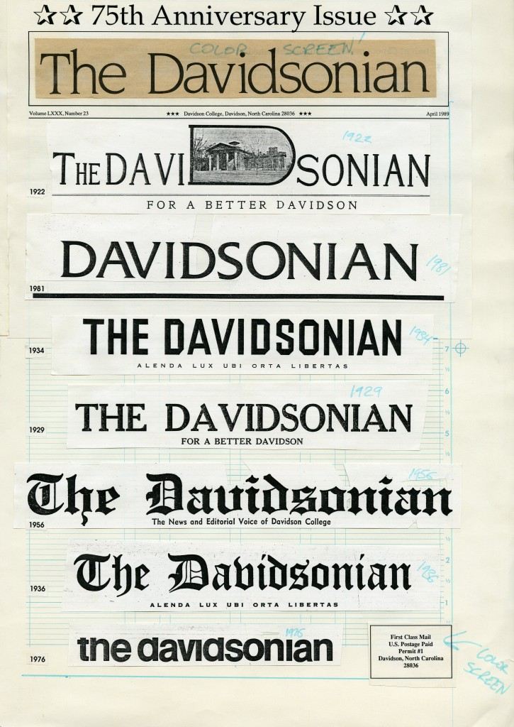 Front page layout for the April 1989 75th anniversary of the Davidsonian