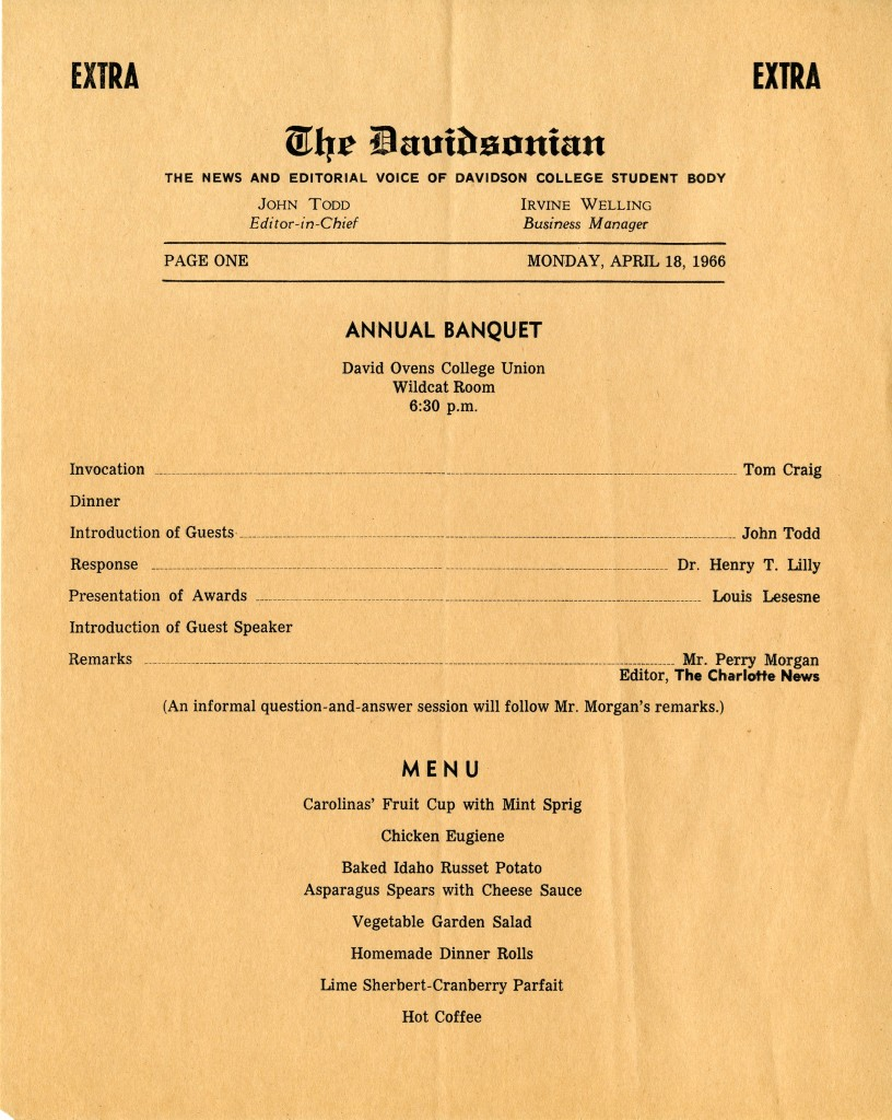The 1966 Davidsonian banquet itinerary