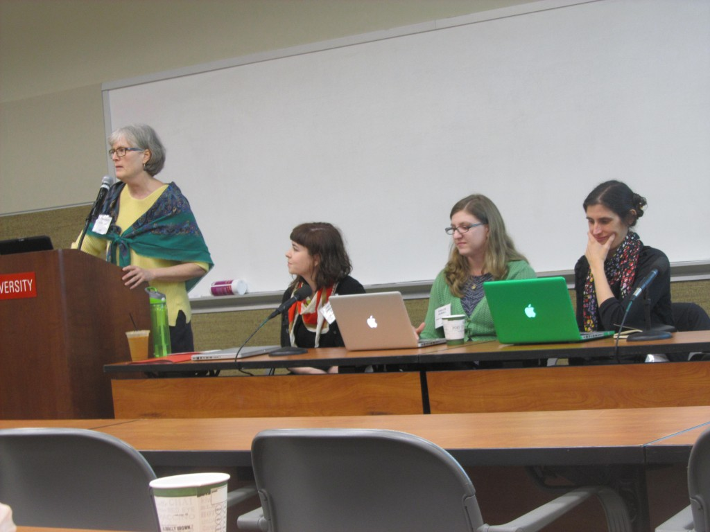 "Moderator and presenters at the ""Publishing and Managing Digital Collections without CONTENTdm"" session. From left to right: Jan Blodgett, Caitlin Christian-Lamb, Chelcie Rowell (Wake Forest University), and Molly Bragg (Duke University)."