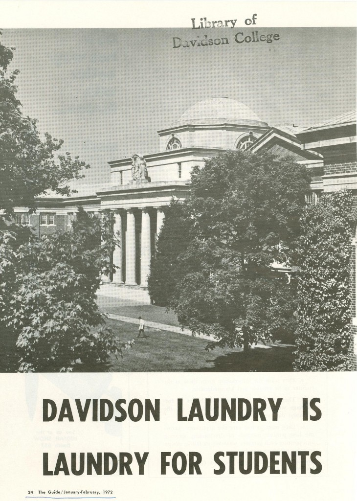 """Davidson Laundry is Laundry For Students,"" 1972."