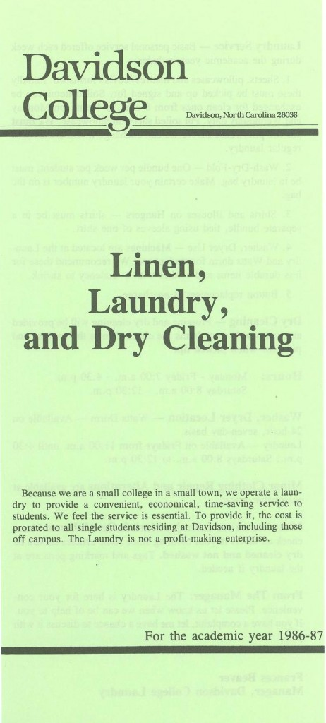 Davidson College Laundry pamphlet, 1986 - 1987.