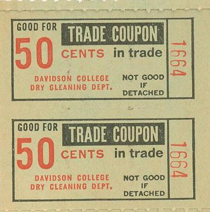 Davidson College Dry Cleaning coupons, 1968.