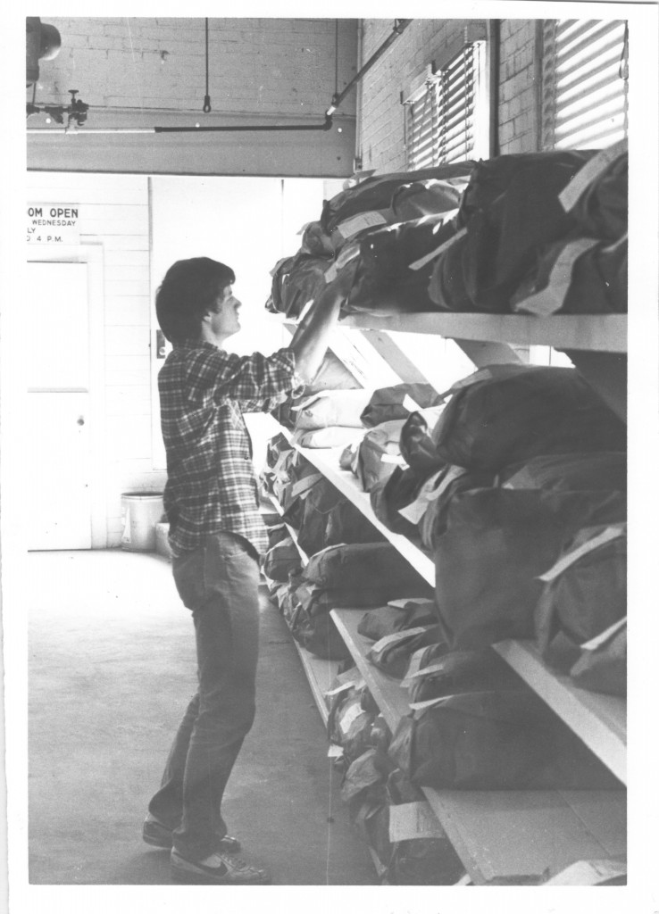 A student picks up laundry, 1980.
