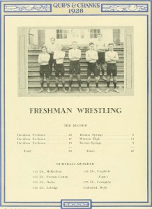 The only yearbook photograph of Doduck is in this uncaptioned freshman wrestling team picture.