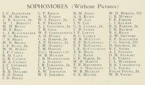 List from 1933-34 Quips and Cranks of the Sophmores (Without pictures) - showing Solomon as a student