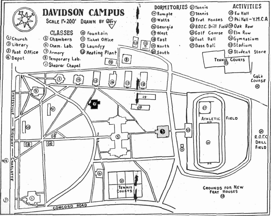Campus map from 1928-29