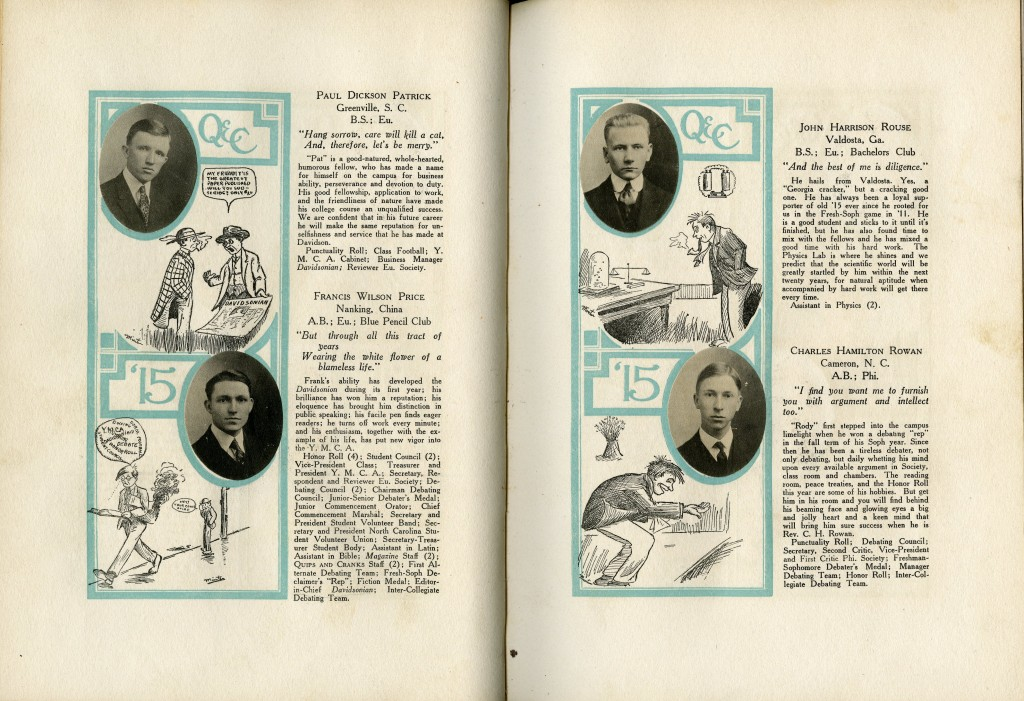 Senior student profiles in the 1915 Quips and Cranks of: Paul Dickson Patrick, Francis Wilson Price, John Harrison Rouse, and Charles Hamilton Rowan