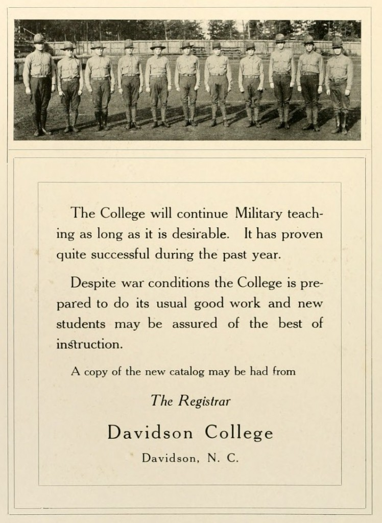 Page from the 1918 Quips and Cranks featuring a picture of Military students
