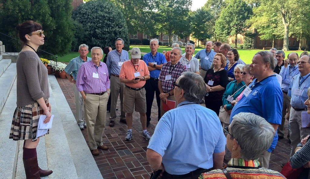 Pi Kappa Phi Epsilon chapter alumni (class of 1962-69) listen to an overview of what's changed on front campus in the last 50 years.