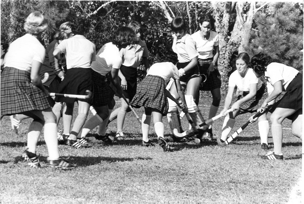 The Davidson field hockey team playing during its inaugural year, 1976.