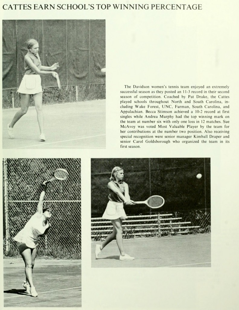 The 1974-1975 women's tennis team, from Quips & Cranks 1975.