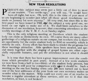 "January 13, 1922 Davidsonian editoral with the heading, ""New Year Resolutions"""
