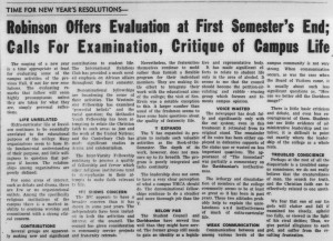 "January 8, 1960 New Year's resolutions editorial with the heading, ""Robinson Offers Evalutation at First Semester's End; Calls For Examination, Critique of Campus Life"""
