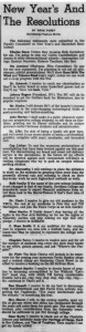 "January 11, 1963 article in the Davidsonian with the heading, ""New Year's And The Resolutions"""