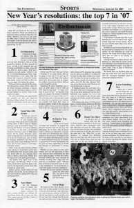 "January 24, 2007 Davidsonian sports resolutions article with the heading, ""New Year's resolutions: the top 7 in '07"""