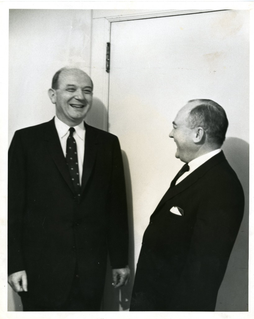 Dean Rusk (left, Class of 1931) laughs with an unidentified man. Davidson's international studies program is named for Rusk.