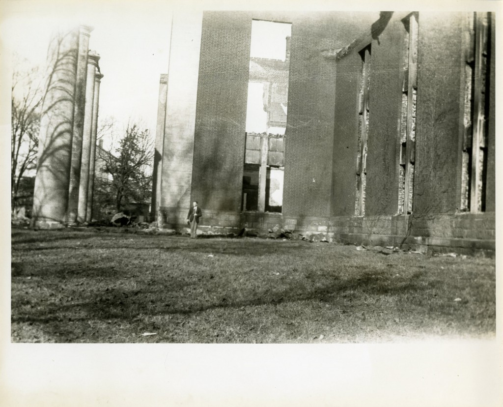 "Another view of the gutted original Chambers Building. The ""Ghost of Old Chambers"" can sometimes be seen on particularly dry days."