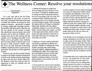 "January 19, 2011 resolution advice article with the heading, ""The Wellness Corner: Resolve your resolutions"""