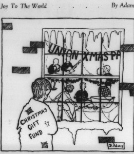 From 7 December 1962 satirizing student preference for holiday parties over charity