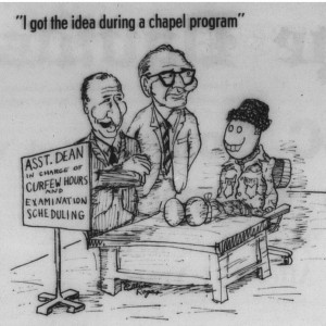 From 7 February 1969, mocking both exam season and student tricks to avoid chapel.