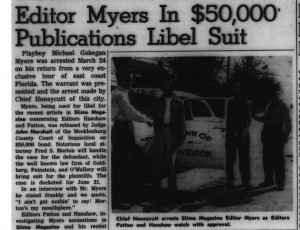 "Davidsonian editor in trouble in 1953, with heading, ""Editor Myers In $50,000 Publications Libel Suit"""