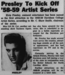 "Article about the 1958-59 Artist Series with the heading, ""Presley To Kick Off '58-59 Artist Series"""