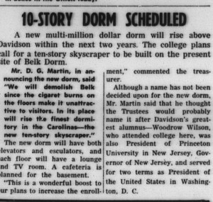 "1958 proposal for a high-rise for Davidson in the Davidsonian with heading, ""10-Story Dorm Scheduled"""