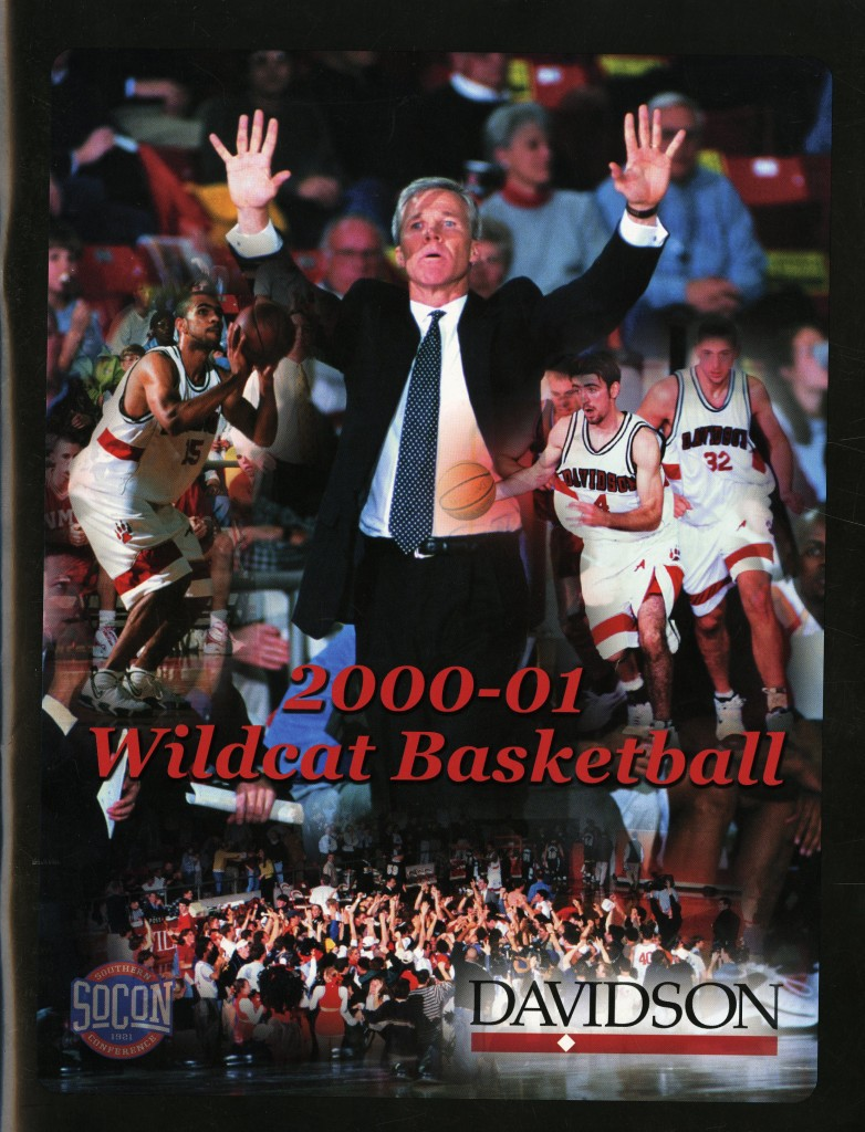 ... and again, on the cover of the 2000 - 2001 men's basketball media guide.