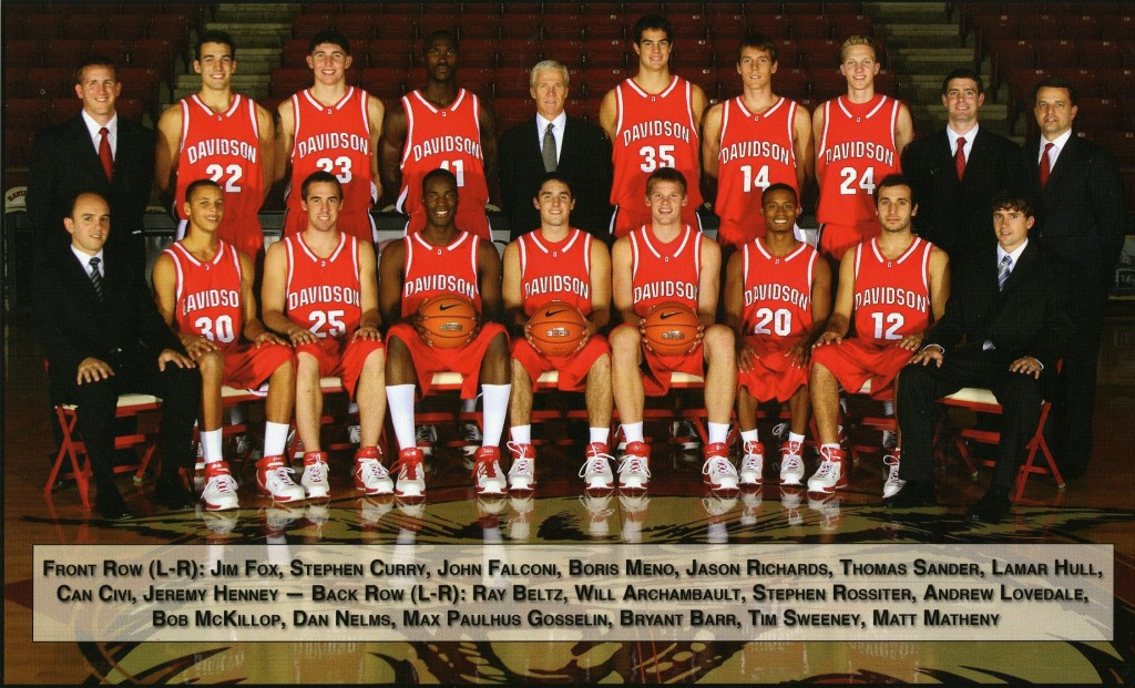 The men's basketball team photo for 2006 - 2007 - McKillop is in the center of the back row.