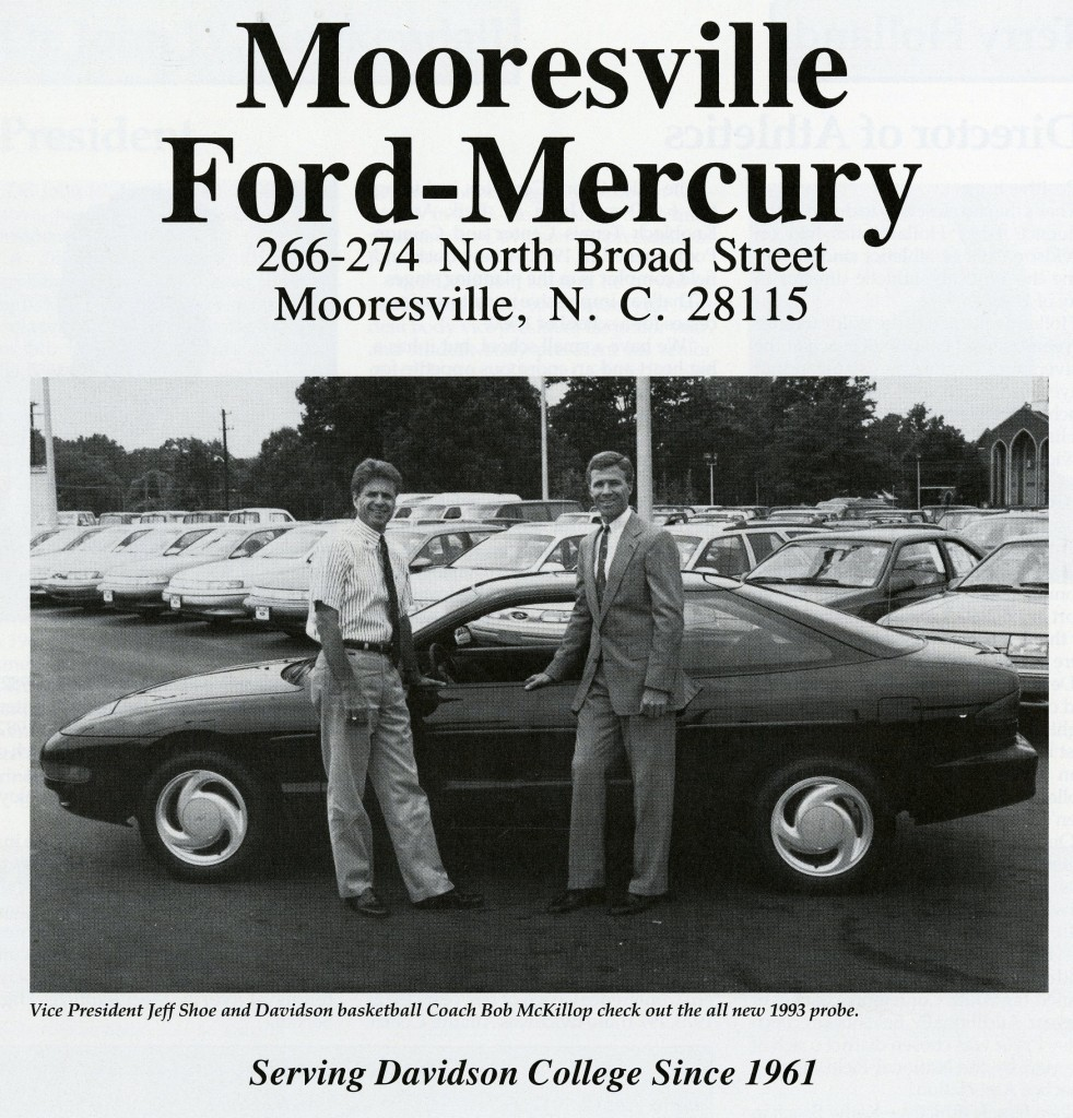 ... and also here, with Jeff Shoe of Mooresville Ford-Mercury, for the 1992 - 1993 media guide.