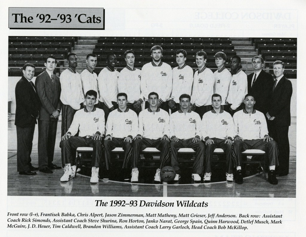 1992 - 1993 men's basketball team photo - McKillop is standing on the far right.