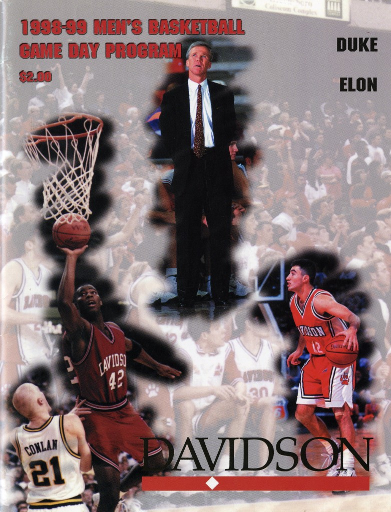 McKillop on the cover of the 1998 - 1999 men's basketball game day program.