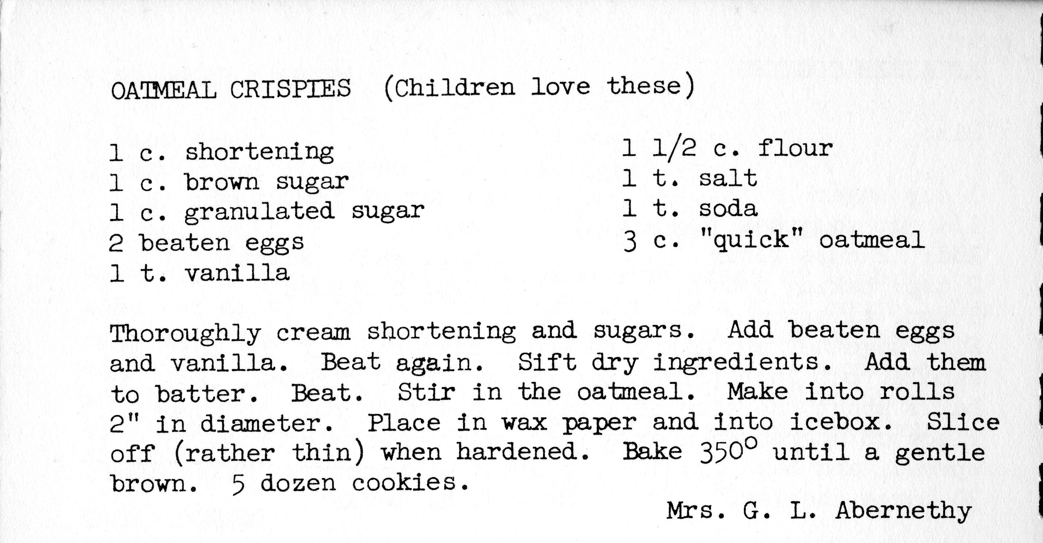Helen Abernethy's Oatmeal Crispies recipe.