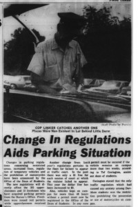 "Article with the heading, ""Change In Regulations Aids Parking Situation"" with an image of a cop writing a ticket"