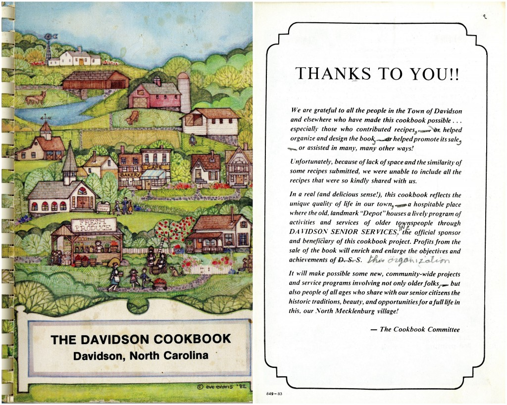 The cover and front page of The Davidson Cookbook, 1985 printing.