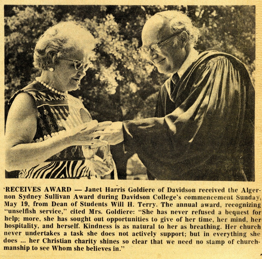 Janet Goldiere accepting the Algernon Sydney Sullivan Award, from the May 22, 1974 Mecklenburg Gazette.