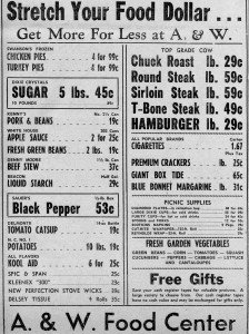 Grocery ad from same issue - Applesauce was 2 for 25 cents and sugar only 45 cents for 5 pounds.