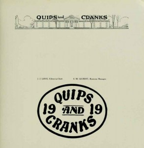 What there is of the 1919 Quips and Cranks is the final section of the 1920 yearbook.