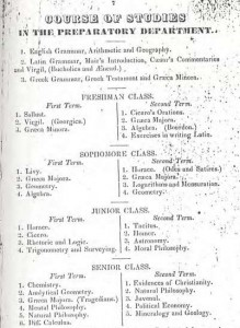 Davidson curriculum in 1845, replete with STEM